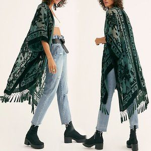 Free People Kimono Burnout Velvet Green